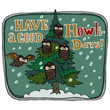 Merry Christmas and Happy New Year greeting card. Have a good holidays title. Polysemic word. Homonym. Pine tree and owls. Vector Stock Image