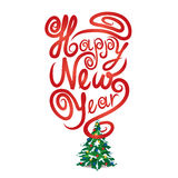 Merry Christmas and Happy New Year greeting card. Royalty Free Stock Images
