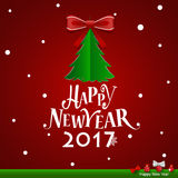 Merry Christmas and Happy new year 2017 Greeting Card,  il Stock Image