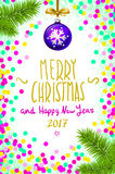 Merry Christmas and Happy New Year 2017 greeting card, illustration. confetti on the table, a hand-written inscription merr. Merry Christmas and Happy New Year Royalty Free Illustration
