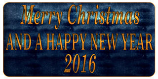 Merry Christmas and a happy New Year 2016. Greeting card with inscription Merry Christmas and a happy New Year 2016 on a blue background Stock Photos