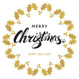 Merry Christmas and Happy New Year greeting  card with lettering Royalty Free Stock Photography