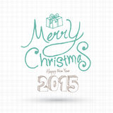 Merry christmas and Happy new year greeting card lettering. Stock Photo