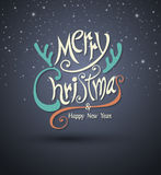 Merry christmas and Happy new year  greeting card lettering. Stock Photos