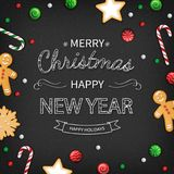Merry Christmas and Happy New Year Greeting card. Logo lettering with sweets on black background. For web or printing Top View stock illustration