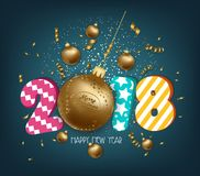 Merry Christmas and Happy New Year 2018 greeting card.  stock illustration