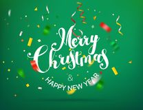 Merry Christmas and Happy New Year greeting card. With confetti. Vector illustration vector illustration