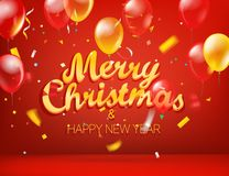 Merry Christmas and Happy New Year greeting card. vector illustration