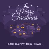 Merry Christmas and Happy New Year greeting card. With night mountain village landscape flat illustration Royalty Free Stock Photos