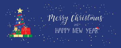 Merry Christmas and a Happy New Year  greeting card  in modern flat design. banner. Poster, invitation, greeting card or t-shirt. Vector calligraphy design. New Stock Photo