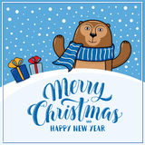 Merry Christmas and Happy New Year greeting card with monkey. Gifts, snow hills and lettering, cartoon vector illustration. Christmas and New Year card vector illustration