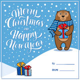 Merry Christmas and Happy New Year greeting card with monkey Stock Photo