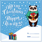 Merry Christmas and Happy New Year greeting card with panda Stock Photos
