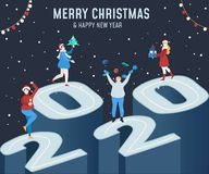 Merry Christmas and Happy new year greeting card with people dancing and celebrating on 2020 scene. 2020 New year banner, greeting royalty free illustration