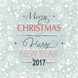 Merry Christmas and Happy New Year. Greeting card. The phrase merry christmas and happy new year and numbers: two, zero, one ,seven on a gray background in the Stock Photo