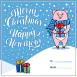 Merry Christmas and Happy New Year greeting card with pig Royalty Free Stock Image