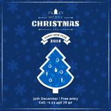 Merry Christmas and Happy New Year greeting card, poster, banner. Blue Christmas tree on dark snowflakes pattern background. Best for web site or social media Stock Photo