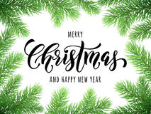 Merry Christmas, Happy New Year greeting card, poster. Template of pine and fir christmas tree branches border frame. Best wishes congratulation background with Royalty Free Stock Photo