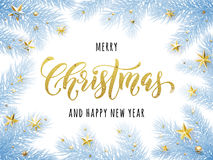 Merry Christmas, Happy New Year greeting card, poster. Template of pine and fir christmas tree branches frost, golden stars, bauble balls, ornament decorations Stock Photo