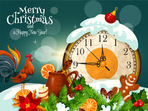Merry Christmas, Happy New Year greeting card. Merry Christmas, New Year poster. Vector greeting card with Rooster cock, wall clock minutes arrow before midnight Royalty Free Stock Images