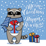 Merry Christmas and Happy New Year greeting card with raccoon Royalty Free Stock Images