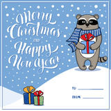 Merry Christmas and Happy New Year greeting card with raccoon Royalty Free Stock Photography
