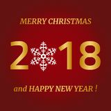 Merry Christmas, Happy New Year greeting card on red background. Vector illustration Stock Image