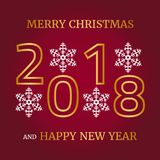 Merry Christmas, Happy New Year greeting card on red background. Vector illustration Stock Images