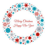 Merry Christmas and Happy New Year greeting card. Merry Christmas and Happy New Year card with red,  blue and gray snowflakes. Vector illustration for Stock Photo