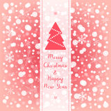 Merry Christmas & Happy New Year greeting card. Red pink and white vector snowflake background. Merry Christmas & Happy New Year pink and white vector greeting Stock Image