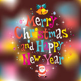 Merry Christmas and Happy New Year greeting card Royalty Free Stock Photography
