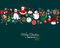 Merry Christmas and Happy New Year greeting card in retro style. With winter design elements border pattern on dark background. Abstract background for Royalty Free Stock Images