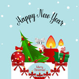 Merry Christmas and Happy new year Greeting Card with Santa Clau Stock Images