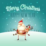 Merry Christmas and happy New Year greeting card - Santa Claus carries a Reindeer on his hands. Merry Christmas and happy New Year greeting card, Santa Claus royalty free illustration