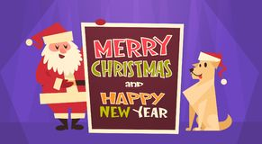 Merry Christmas And Happy New Year Greeting Card Santa Claus With Dog In Red Hat Winter Holidays Concept Banner. Flat Vector Illustration stock illustration