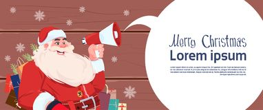 Merry Christmas And Happy New Year Greeting Card With Santa Claus. Holding Megaphone With Chat Bubble Winter Holiday Banner Flat Vector Illustration stock illustration