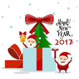 Merry Christmas and Happy new year 2017 Greeting Card with Santa Royalty Free Stock Photo