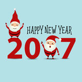 Merry Christmas and Happy new year 2017 Greeting Card with Santa Stock Photos