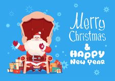 Merry Christmas And Happy New Year Greeting Card With Santa Claus. Sitting In Armchair Winter Holiday Banner Flat Vector Illustration royalty free illustration
