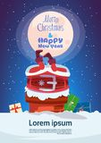 Merry Christmas And Happy New Year Greeting Card With Santa Claus. Stuck In Chimney Winter Holiday Banner Flat Vector Illustration stock illustration