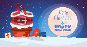 Merry Christmas And Happy New Year Greeting Card With Santa Claus. Stuck In Chimney Winter Holiday Banner Flat Vector Illustration royalty free illustration
