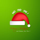 Merry Christmas and Happy New Year greeting card.Santa Claus red. Hat sample vector illustration