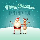 Merry Christmas and happy New Year greeting card - Santa Claus and Reindeer celebrate Christmas - winter landscape. Merry Christmas and happy New Year greeting stock illustration