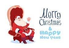 Merry Christmas And Happy New Year Greeting Card With Santa Claus Sitting In Armchair Winter Holidays Banner Concept. Flat Vector Illustration vector illustration