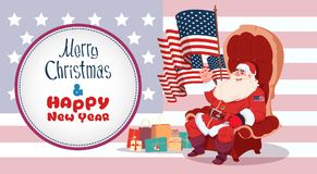 Merry Christmas And Happy New Year Greeting Card With Santa Claus Sitting Hold Usa Flag Winter Holidays Banner Concept. Flat Vector Illustration stock illustration