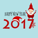 Merry Christmas and Happy new year 2017 Greeting Card with Santa Royalty Free Stock Image
