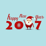 Merry Christmas and Happy new year 2017 Greeting Card with Santa Royalty Free Stock Photos