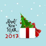 Merry Christmas and Happy new year 2017 Greeting Card with Santa Stock Image