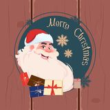 Merry Christmas And Happy New Year Greeting Card With Santa Claus Winter Holidays Banner Concept. Flat Vector Illustration stock illustration