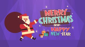 Merry Christmas And Happy New Year Greeting Card Santa Holding Big Present Sack Winter Holidays Concept Banner Royalty Free Stock Image